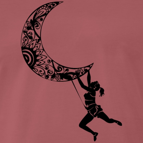 Climbing Woman Girl moon - Climber on the moon - Men's Premium T-Shirt