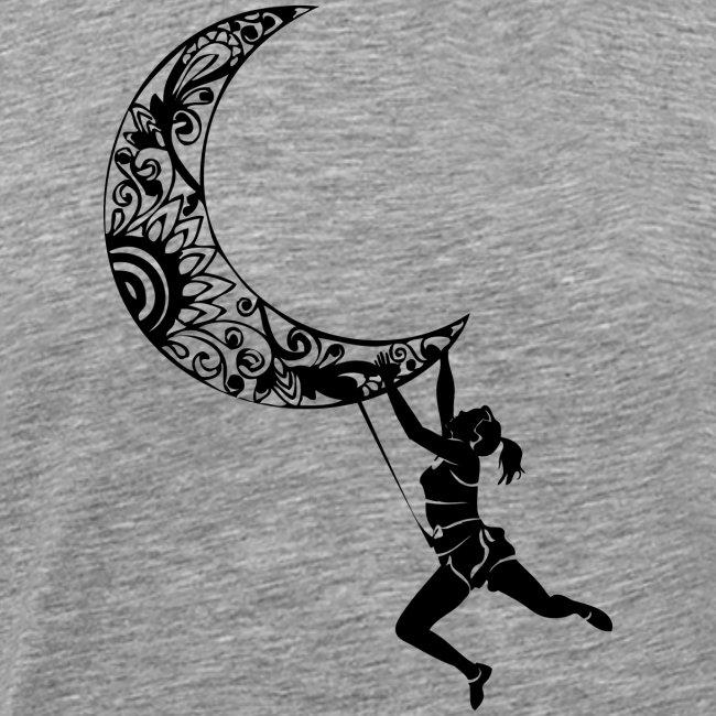 Climbing Woman Girl moon - Climber on the moon
