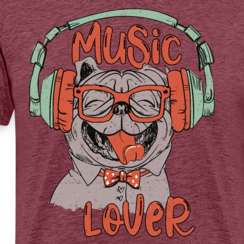 Music Lover - Happy Pug Dog Head Vintage style - Men's Premium T-Shirt