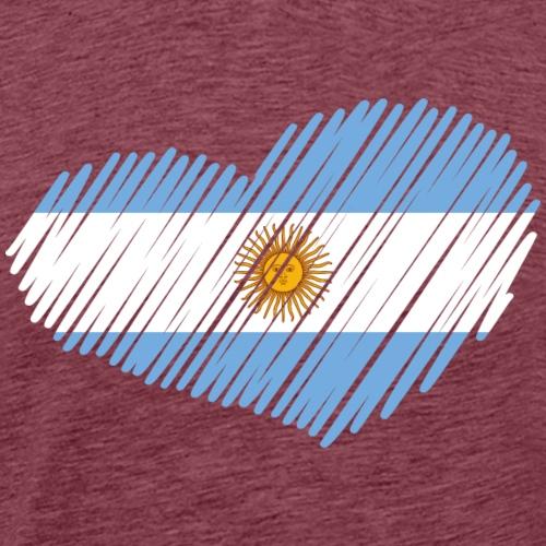 coeur drapeau argentine - T-shirt Premium Homme