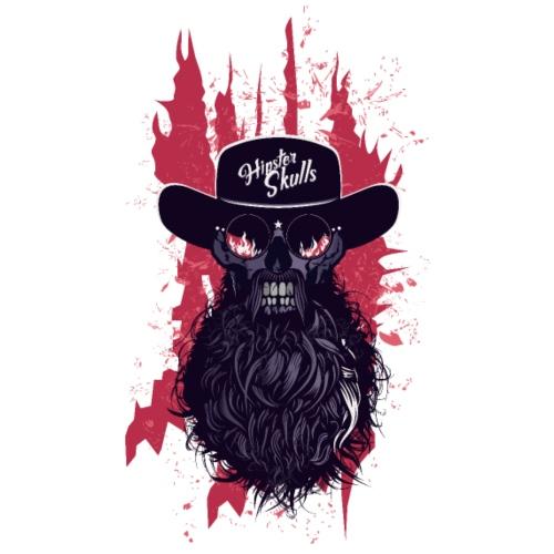 tete de mort hipster skull barbu moustache crane f - T-shirt Premium Homme