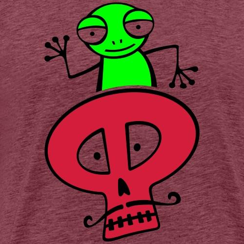 Grenouille verte sur un crâne moustachu - T-shirt Premium Homme
