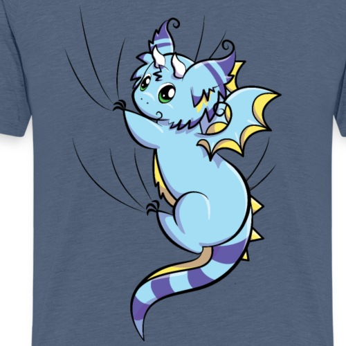 Blue Fluffy Dragon - Hanging on - Men's Premium T-Shirt