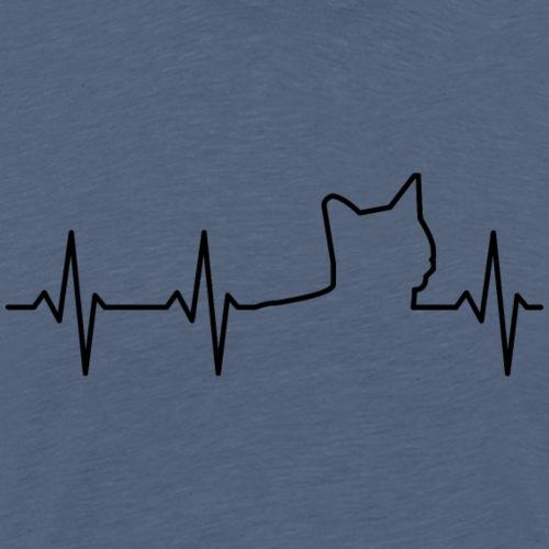 Katze-Herz - Männer Premium T-Shirt