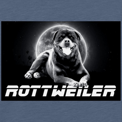 Rottweiler on the Moon Black and White - T-shirt Premium Homme