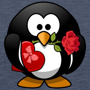 Valentine Penguin with Rose - Men's Premium T-Shirt