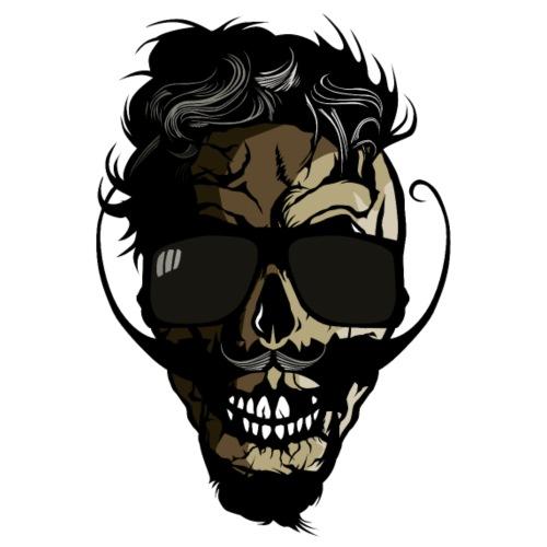 tete de mort barbu hipster crane moustache barbe l - T-shirt Premium Homme