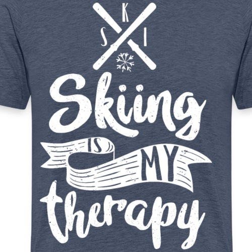 skiing is my therapy wh - Männer Premium T-Shirt