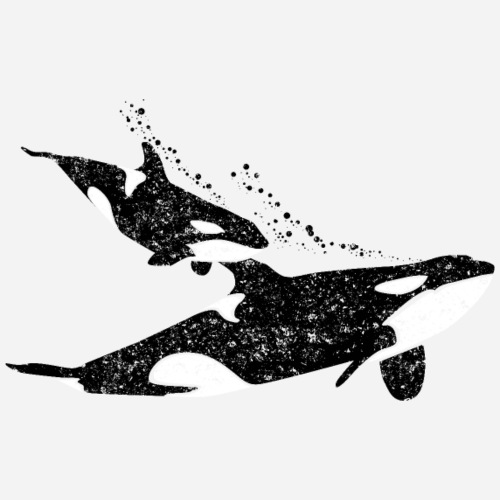 Orca Wal mit Orca-Baby - Männer Premium T-Shirt