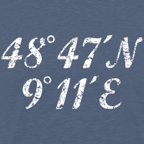 Stuttgart Koordinaten (Vintage Weiß) - Männer Premium T-Shirt