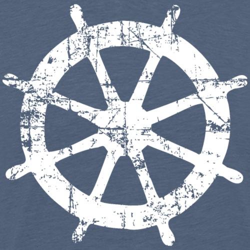 Steuer Steuerrad Segeln Segelboot (Vintage/Weiß) - Männer Premium T-Shirt