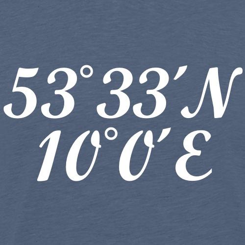 Hamburger Koordinaten Längengrad Breitengrad - Männer Premium T-Shirt