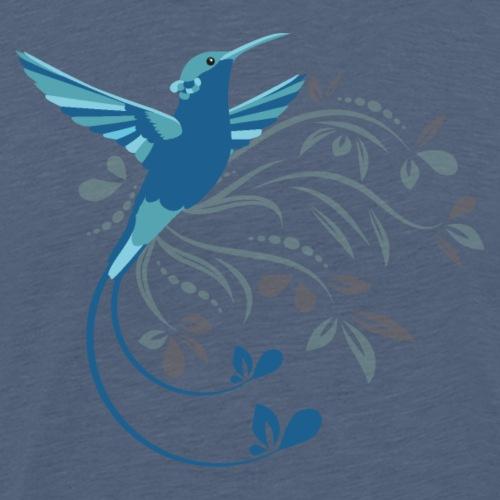 Blauer Kolibri mit Ornamente - Männer Premium T-Shirt