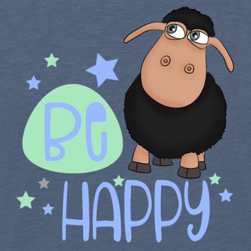 Schwarzes Schaf - Be happy Schaf - Glücksbringer - Männer Premium T-Shirt