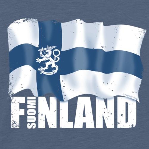 SUOMI FINLAND LIPPU Tekstiilit ja lahjatuotteet - Miesten premium t-paita