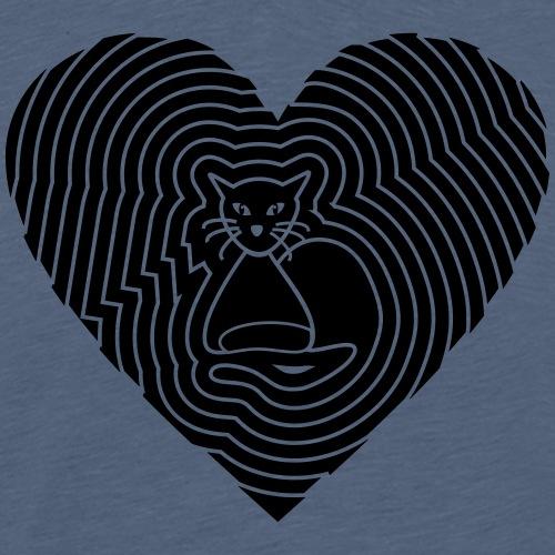 Katzen Spirale Herz - Männer Premium T-Shirt