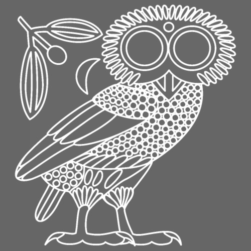 Owl of Athena [White Outline (no Ethnicon)] - Men's Premium T-Shirt