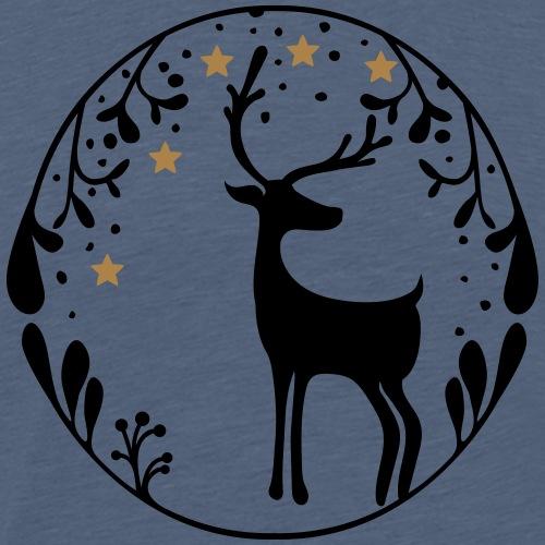 Weihnachtswald mit Elch und Sternen - Männer Premium T-Shirt