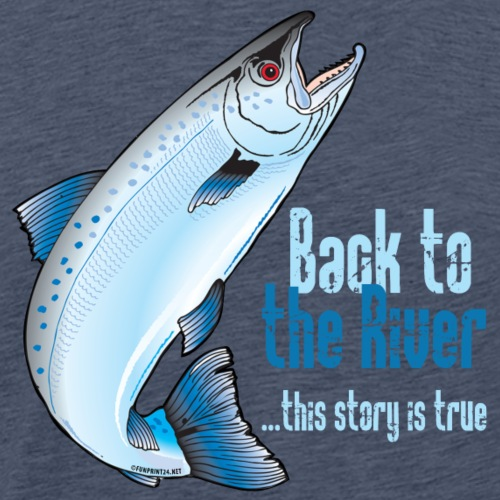 BACK TO THE RIVER - FISHING TEXTILES, GIFTS - Miesten premium t-paita