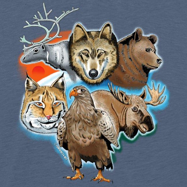 Susi, poro, karhu, ilves, kotka, hirvi tekstiilit