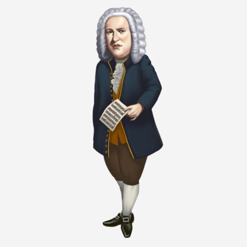 Johann Sebastian Bach im Cartoon Style - Männer Premium T-Shirt