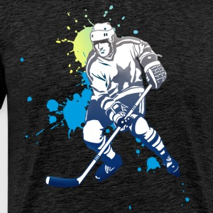 hockey splatter hockey spiller puck angrep kult - Premium T-skjorte for menn