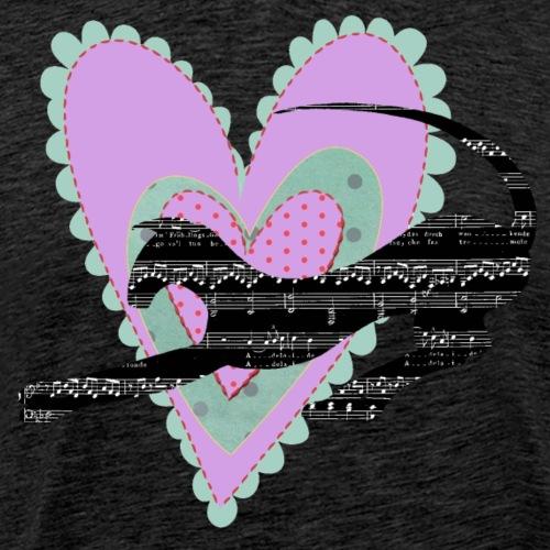Musik hjärta - Premium-T-shirt herr