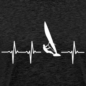 Surfen heartbeat (I love to surf ontwerp) - Mannen Premium T-shirt