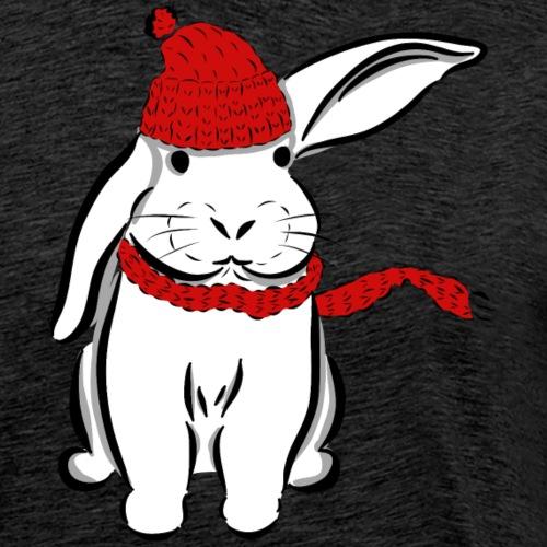 Kaninchen Hase Mütze Schal Schlappohr Schneehase - Männer Premium T-Shirt