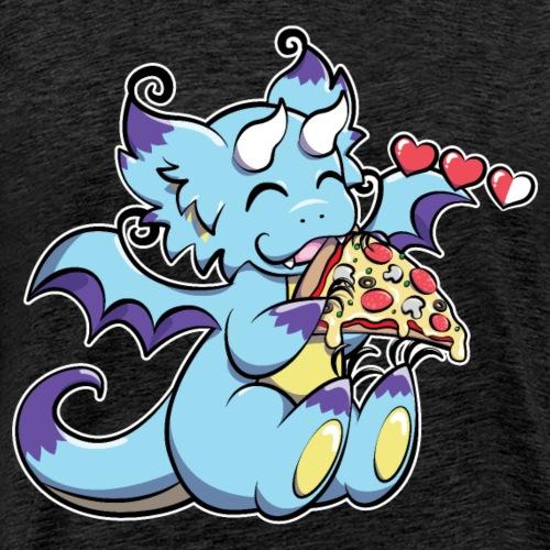 Blue Gaming Dragon - Pizza is Life - Men's Premium T-Shirt
