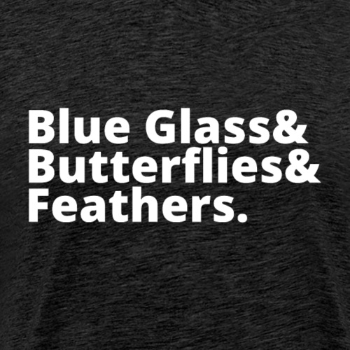 Blue Glass&Butterflies&Feathers (White)