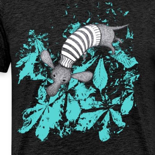 Dackel mit türkisen Blättern - Männer Premium T-Shirt