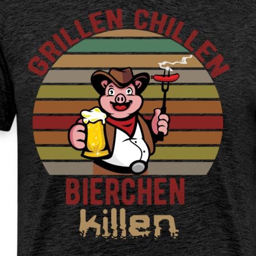 Grillen Chillen Bierchen Killen Lustiges Humorvol - Männer Premium T-Shirt