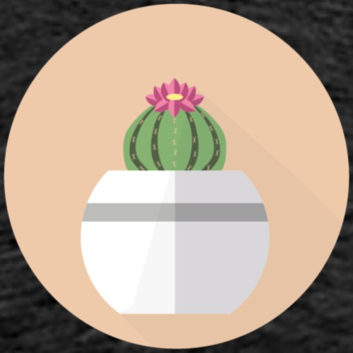 Flat Cactus Flower Round Potted Plant Motif - Men's Premium T-Shirt