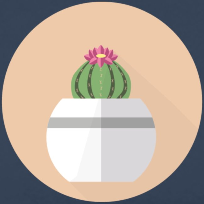 Flat Cactus Flower Round Potted Plant Motif