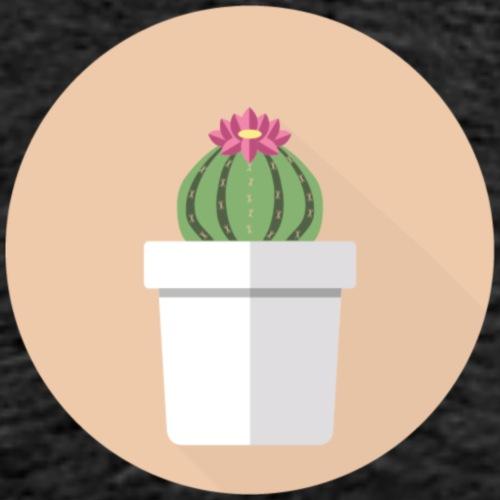 Flat Cactus Flower Potted Plant Motif - Men's Premium T-Shirt