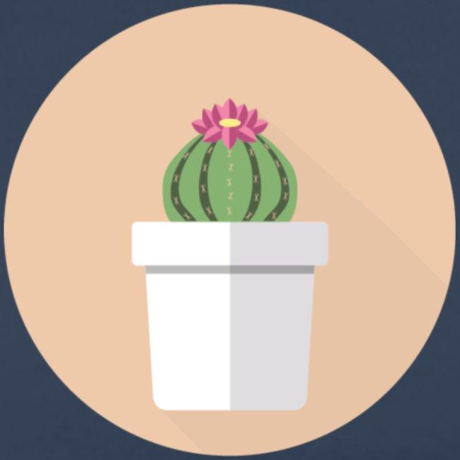 Flat Cactus Flower Potted Plant Motif