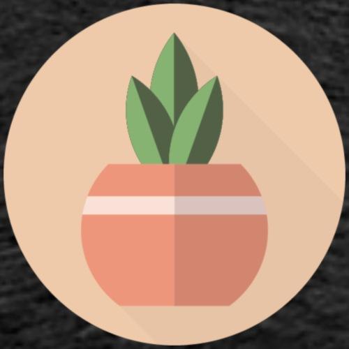 Flat 3 Leaf Potted Plant Motif Round - Men's Premium T-Shirt