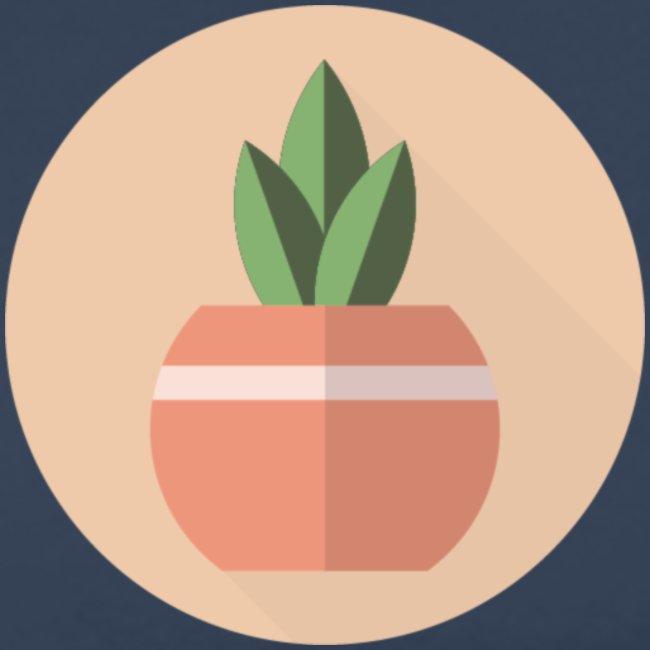 Flat 3 Leaf Potted Plant Motif Round