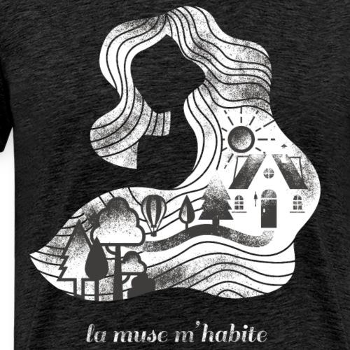 La m use m'habite - contrepèterie sur fond sombre - T-shirt Premium Homme