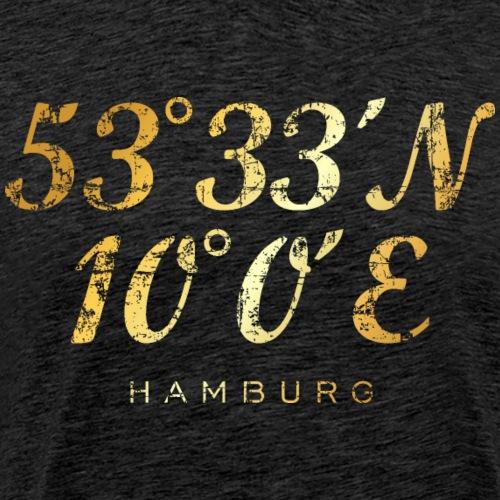 Hamburger Koordinaten (Vintage Goldgelb) Hamburg - Männer Premium T-Shirt