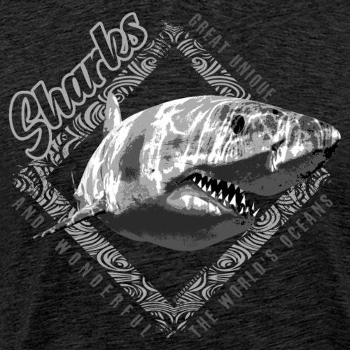 White Shark Cool Sea lovers Textiles, Gift ideas - Miesten premium t-paita