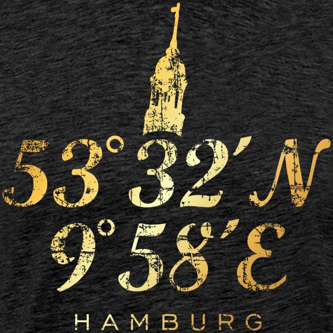 Hamburg Michel Koordinaten (Vintage Goldgelb)