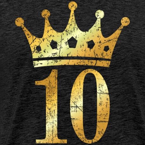 Krone Nummer 10 (Vintage Goldgelb) 10. Geburtstag - Männer Premium T-Shirt