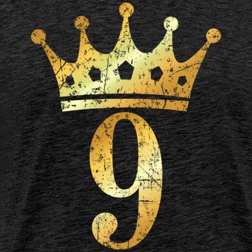 Krone Nummer 9 (Vintage Goldgelb) 9. Geburtstag - Männer Premium T-Shirt