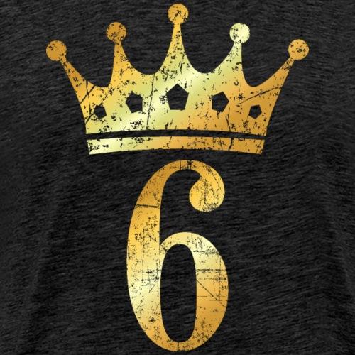 Krone Nummer 6 (Vintage Goldgelb) 6. Geburtstag - Männer Premium T-Shirt