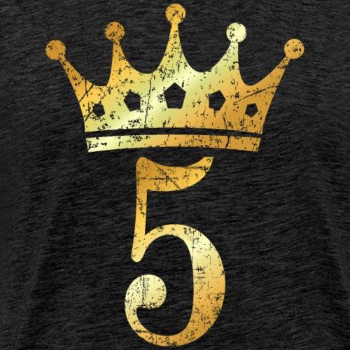 Krone Nummer 5 (Vintage Goldgelb) 5. Geburtstag - Männer Premium T-Shirt