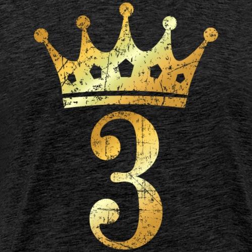 Krone Nummer 3 (Vintage Goldgelb) 3. Geburtstag - Männer Premium T-Shirt