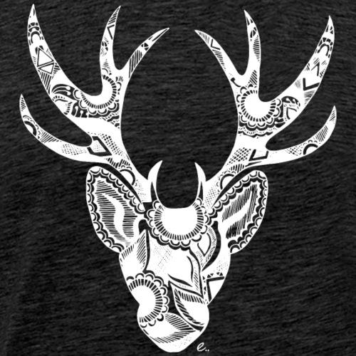 Cerf Mandala Blanc - T-shirt Premium Homme