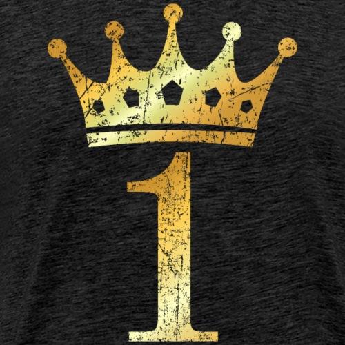Krone Nummer 1 (Vintage Goldgelb) Sieger Gewinner - Männer Premium T-Shirt